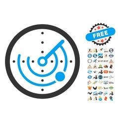 Radar icon with 2017 year bonus symbols vector