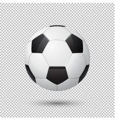 Realistic flying soccer ball closeup vector
