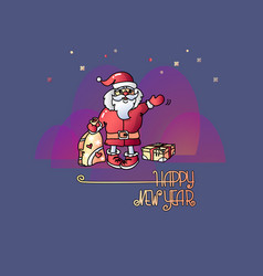 santa gifts and handwritten words happy new year vector image vector image