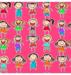 Seamless pattern with the image of children vector