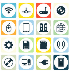 set of 16 computer hardware icons includes cd-rom vector image vector image