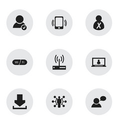 Set of 9 editable global icons includes symbols vector