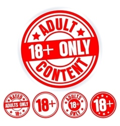 Set of red round stamps adults only grungy icons vector