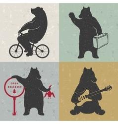 Set Sign Fun Bears vector image