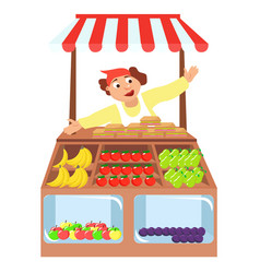 vegetables shop stall farmers market vector image vector image