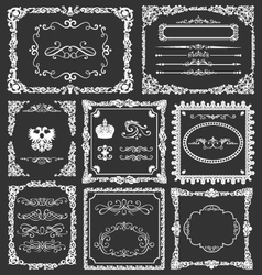 Vintage floral decorative border frames elements vector image vector image