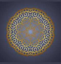 Vintage oriental mandala sign gold frame vector