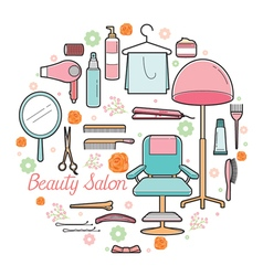 Hair salon equipments set vector