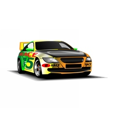 Digital colored sport race car vector
