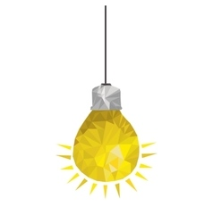 Yellow light bulb abstract geometric hanging vector