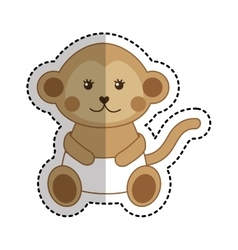 Cute monkey animal isolated icon vector