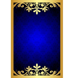 Gold and blue floral frame vector