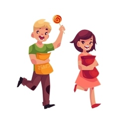 Little boy and girl holding packs of chips and vector