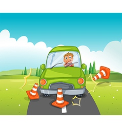 A boy riding on a green car bumping the traffic vector