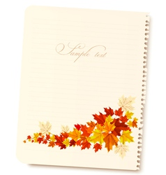 Autumn background with sheet of paper and colorful vector image