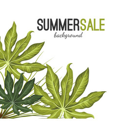 Summer sale background with green tropical exotic vector
