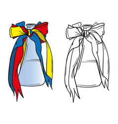 Bottle of wine with ribbons vector