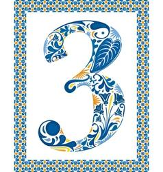 Blue number 3 vector image