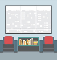 Sofas with bookcase in front of wide glass window vector