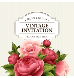 Vintage greeting card with blooming peony and vector