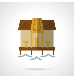 Beach bungalow flat color icon vector
