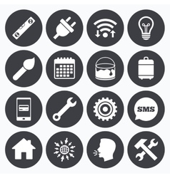 Repair construction icons hammer wrench tool vector