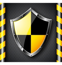 Steel shield over black dotted background vector