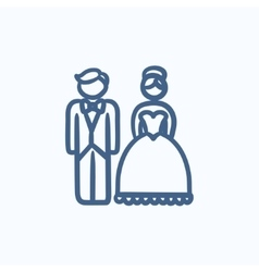 Bride and groom sketch icon vector image