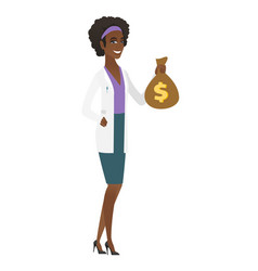 African-american doctor holding a money bag vector