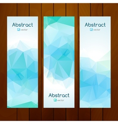 Aqua color triangle banners on wooden background vector