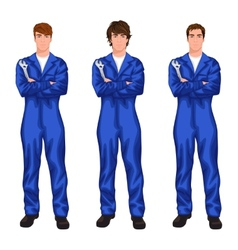 Auto mechanic worker set vector