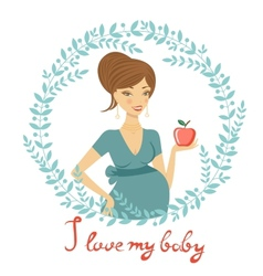 Beautiful mom to be holding apple vector image vector image