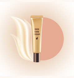 Blank gold tube expensive cosmetic skin care cream vector