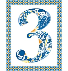 Blue number 3 vector