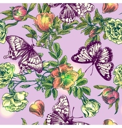 boho flowers and butterflies vector image