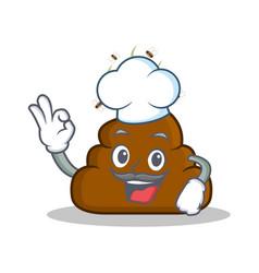 Chef poop emoticon character cartoon vector