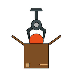 Color image cartoon crane mechanics holding a vector