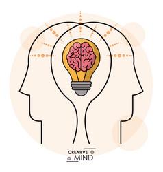 Creativity mind heads brain bulb efficient memory vector