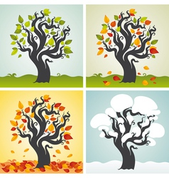 Four seasons set with tree vector image vector image