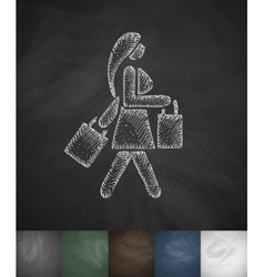 Girl with packages icon hand drawn vector