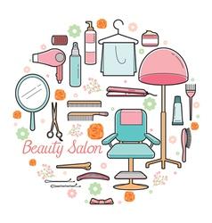 Hair salon equipments set vector