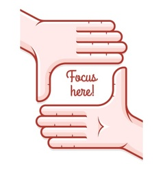 Hands taking focus frame vector image