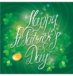 Happy St Patricks Day Shamrock and golden coin vector image