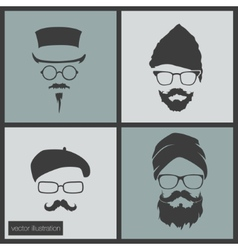 Icons hairstyles beard and mustache vector