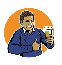 Man with beer vector