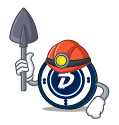 Miner digibyte coin mascot cartoon vector
