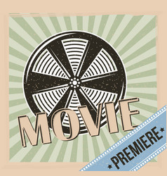 Movie premiere reel film and stripes background vector