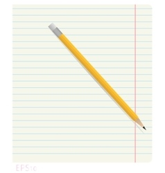 Pencil lying on notebook sheet in line with the vector image