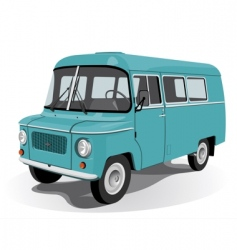 retro mini bus vector image