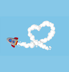 Rocketship flying in sky vector